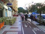 Carril sobre acera: Poco espacio para peatones