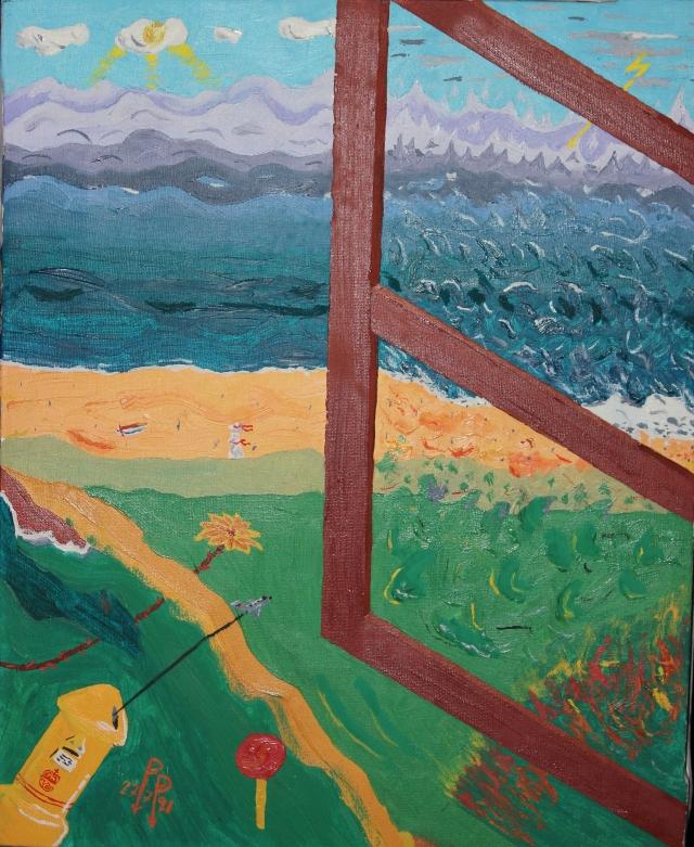 """""""Tras el cristal"""" (óleo sobre lienzo, del artista Pepe Galindo, 1991)"""