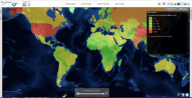 Representación de las emisiones  de CO2 (millones de toneladas) por países en 2009