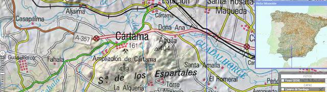 Mapa de la Sierra de Cártama, al oeste de la ciudad de Málaga
