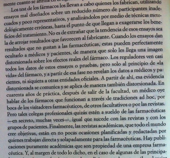 Un párrafo del libro Mala Farma, que resume algo de su contenido.