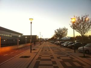 Málaga: Demasiadas farolas encendidas de día en una calle de poco tránsito.