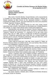 Charla de Voninho Benites. Guaraní-Kaiowá