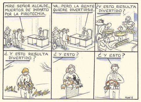 Viñeta de Paco Catalán contra la pirotecnia y los petardos