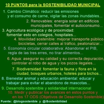10 puntos para la Sostenibilidad Municipal ante las elecciones del 26 de Mayo 2019 en España